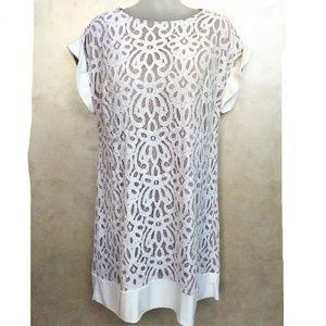 Lace Overlay Shift Dress EUC18W
